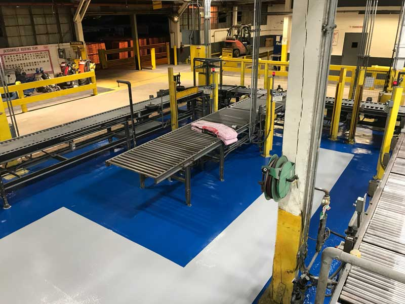 epoxy coating in a manufacturing facility